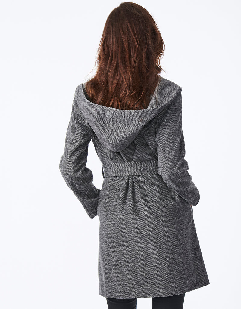 Belted Hooded Wrap Wool Coat