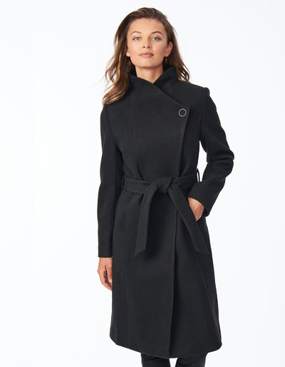 Belted Asymmetrical Wool Coat