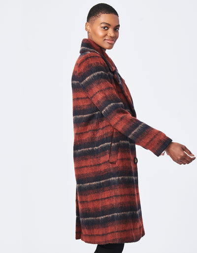 Scottish Brushed Plaid Faux Coat