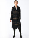 Classic Woven Plaid Wool Long Coat with Back Vent
