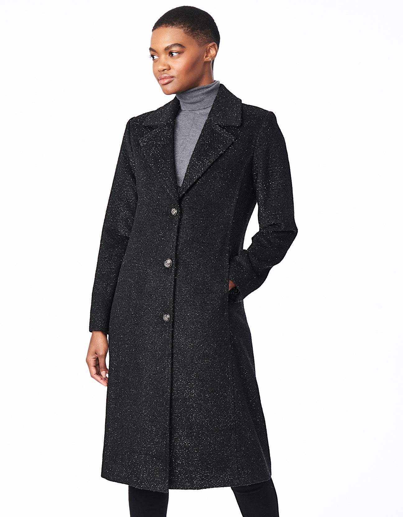Long Button Front Notch Collar Lurex Wool Coat