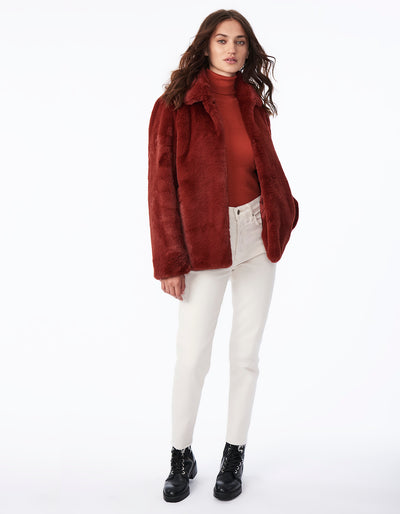 Soft Faux Fur Jacket with Notch Collar