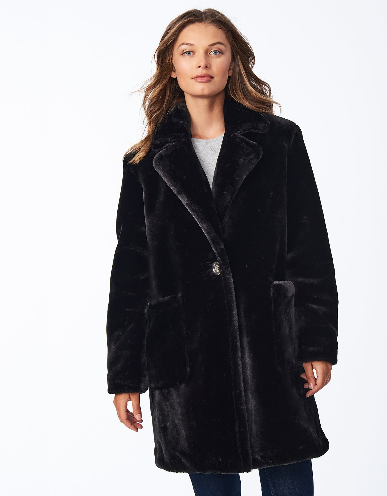 Faux Fur Notched Lapel Coat