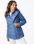 Soft Glammy fabric packable assymetric puffer