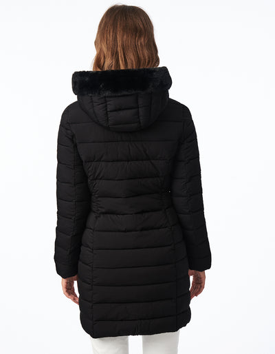 EcoPlume™ soft hooded walker with faux fur trim
