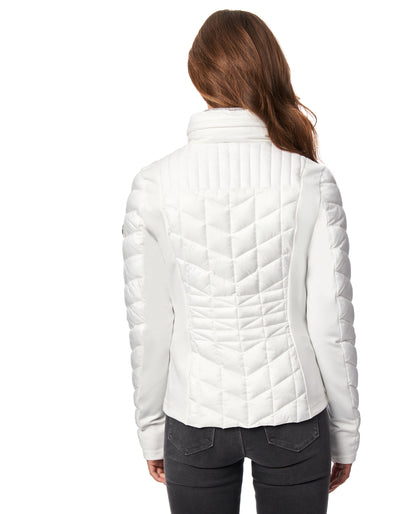 EcoPlume™ Glossy Nylon Quilted Jacket with Knit Trim