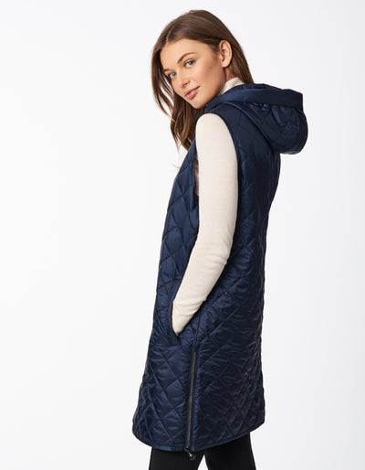 Recycled Polyester Quilted Long Vest