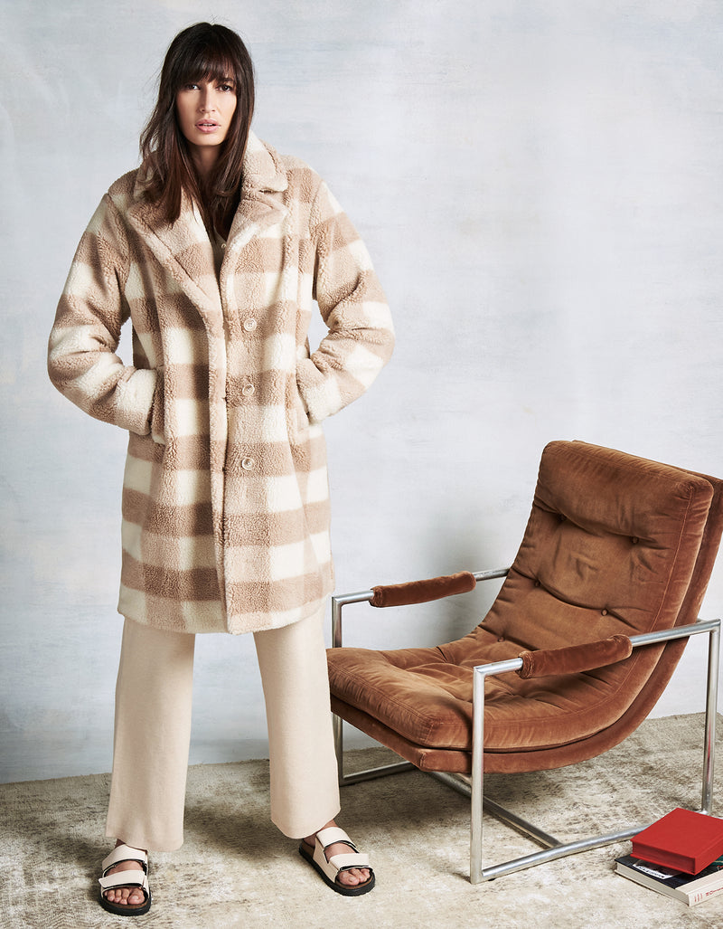 Nude Plaid Teddy Faux Fur Coat