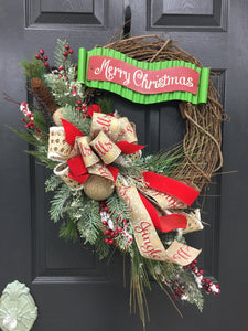 Christmas Wreath for Front Door, Rustic Christmas Wreath