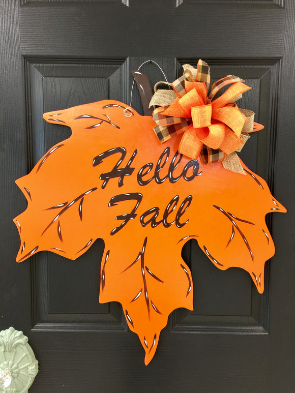 Fall Leaf Wood Door Hanger