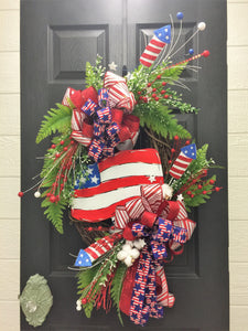 4th of July Wreaths for Front Door, Summer Patriotic Wreath, Red White Blue Wreath