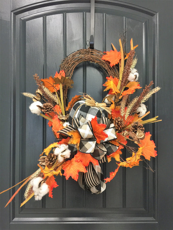 Fall Buffalo Plaid/Cotton Wall Planter