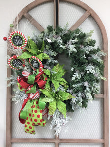 HO HO HO Christmas Front Door Wreath