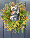 Mixed Green Fall Wreath