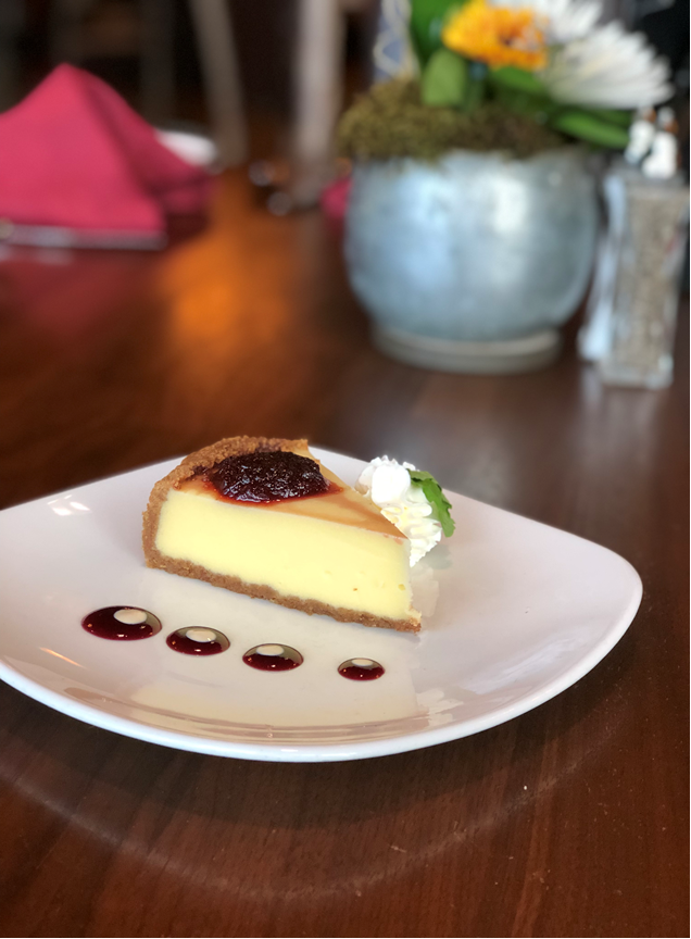 """Eat an Extra Dessert"" Day!!   Delicious Cheesecake with Cherry Fruit Spread"