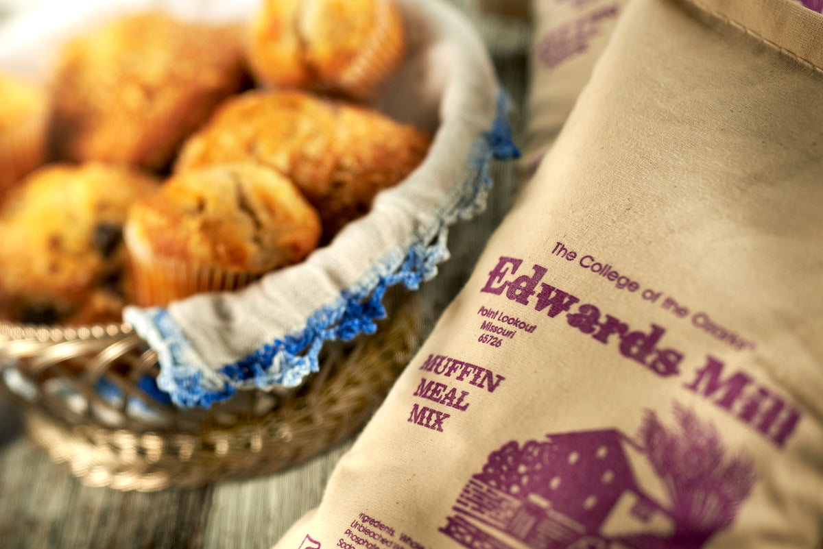 Muffins and a bag of Edwards Mill stone ground muffin meal mix