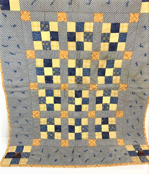 Hand-Tied Postage Stamp 9 Patch Lap Quilt
