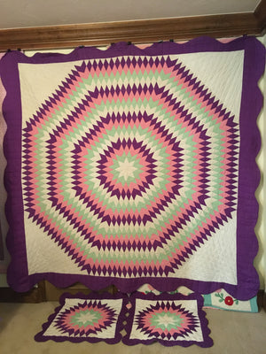 Purple, Pink, and Green Blazing Star Quilt