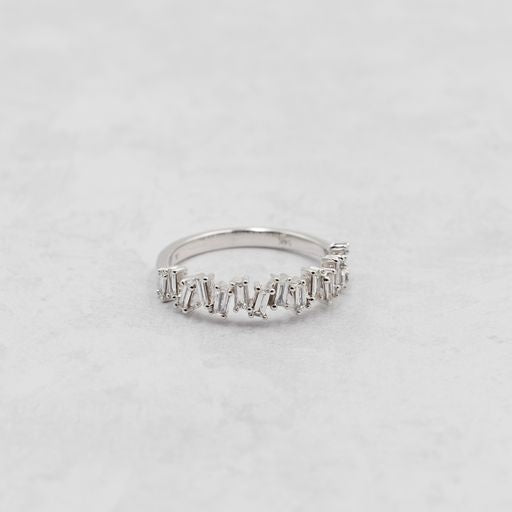 Criss-cross Baguette Diamond Stackable Band