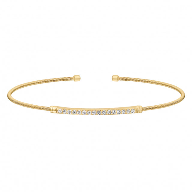 Bella Cavo Italian Cable Bracelet with Simulated Diamond Birthstones - April