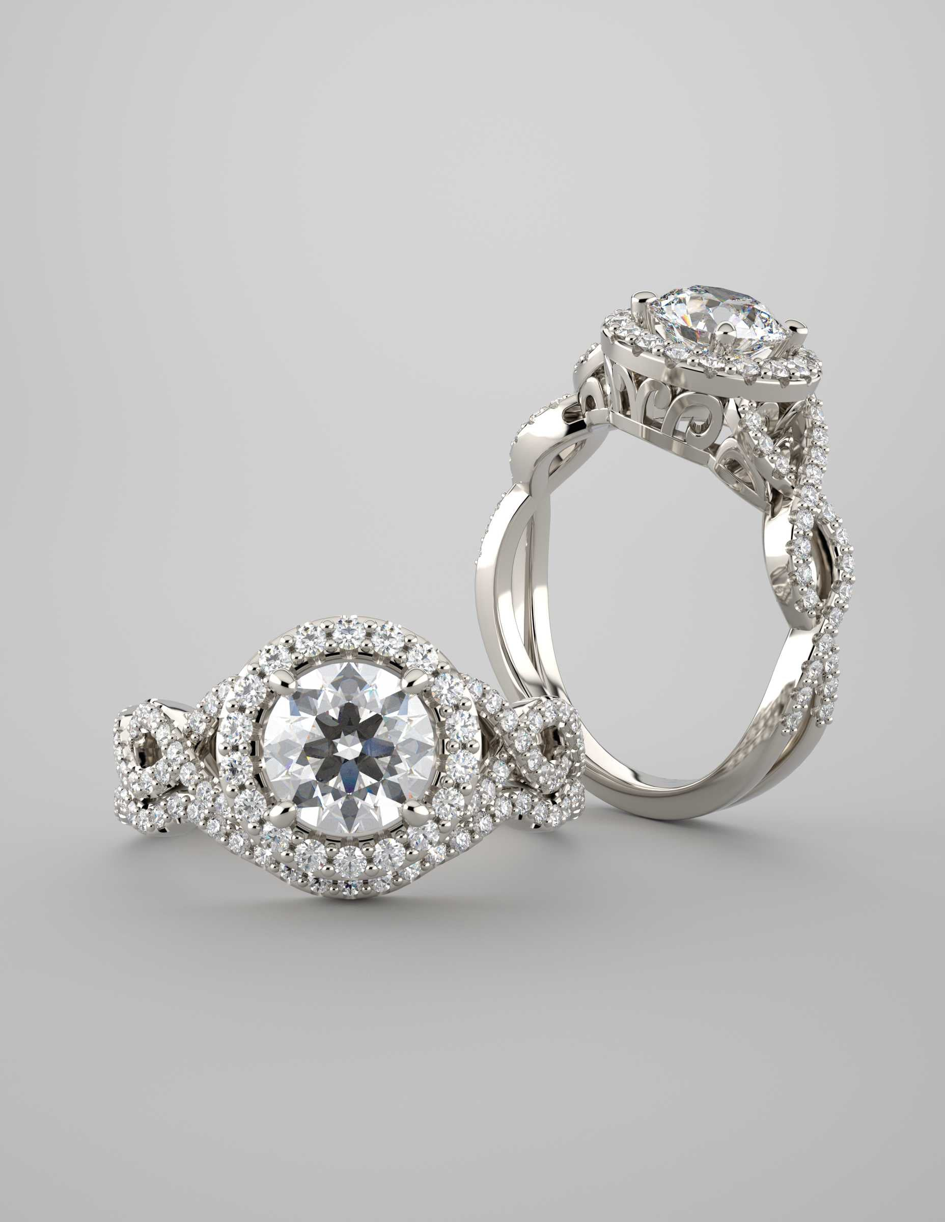 GABRIELLA, Round Brilliant Halo Engagement Ring