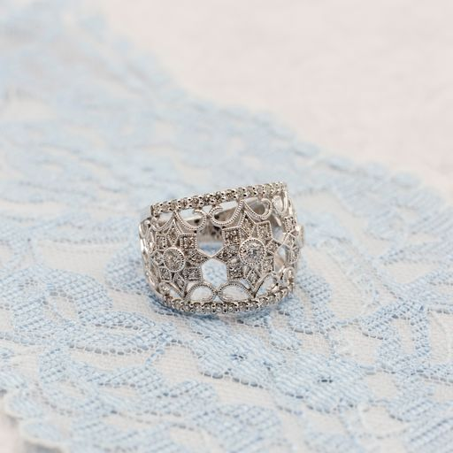Edwardian Star Vintage Inspired Diamond Statement Ring