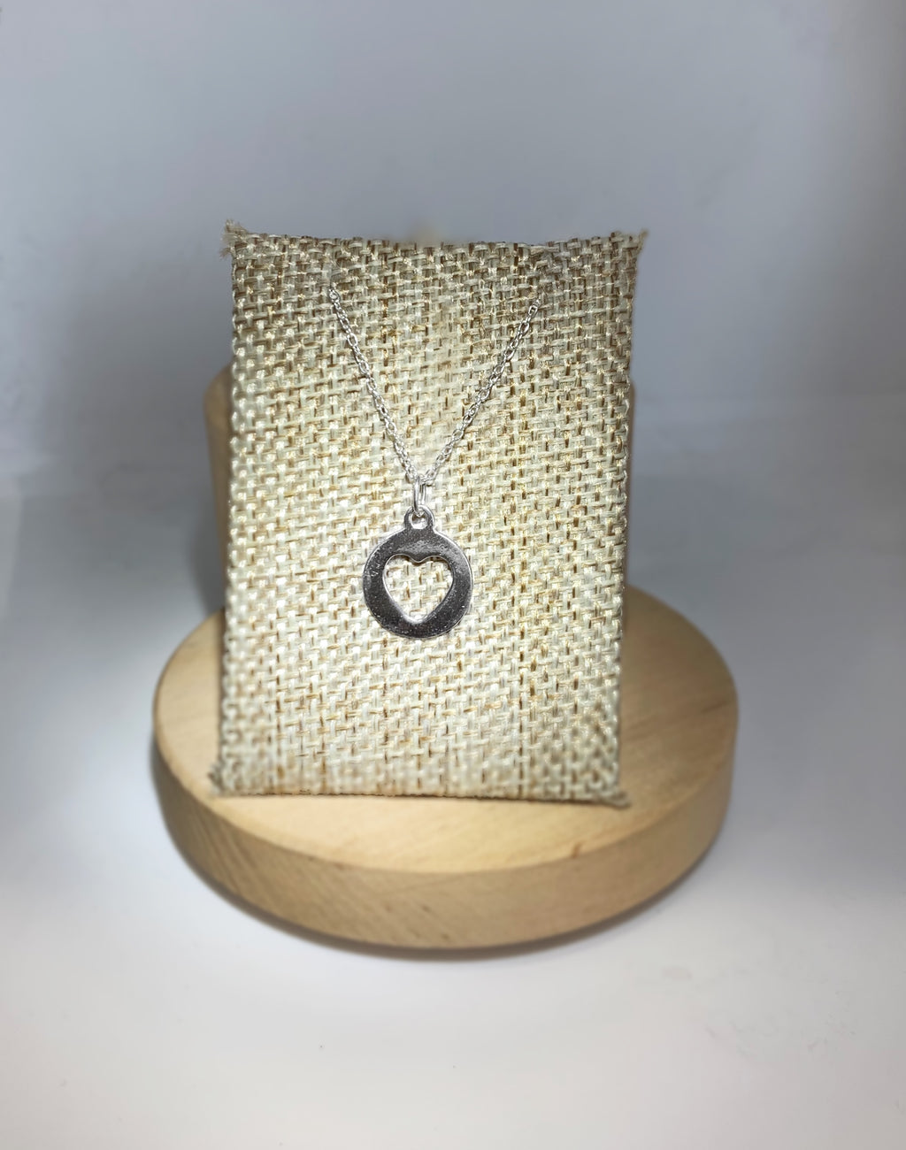 Circle Cutout Heart Pendant Necklace