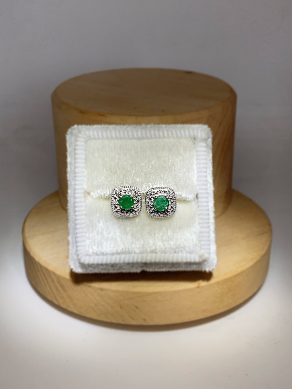 Emerald Diamond Stud Earrings