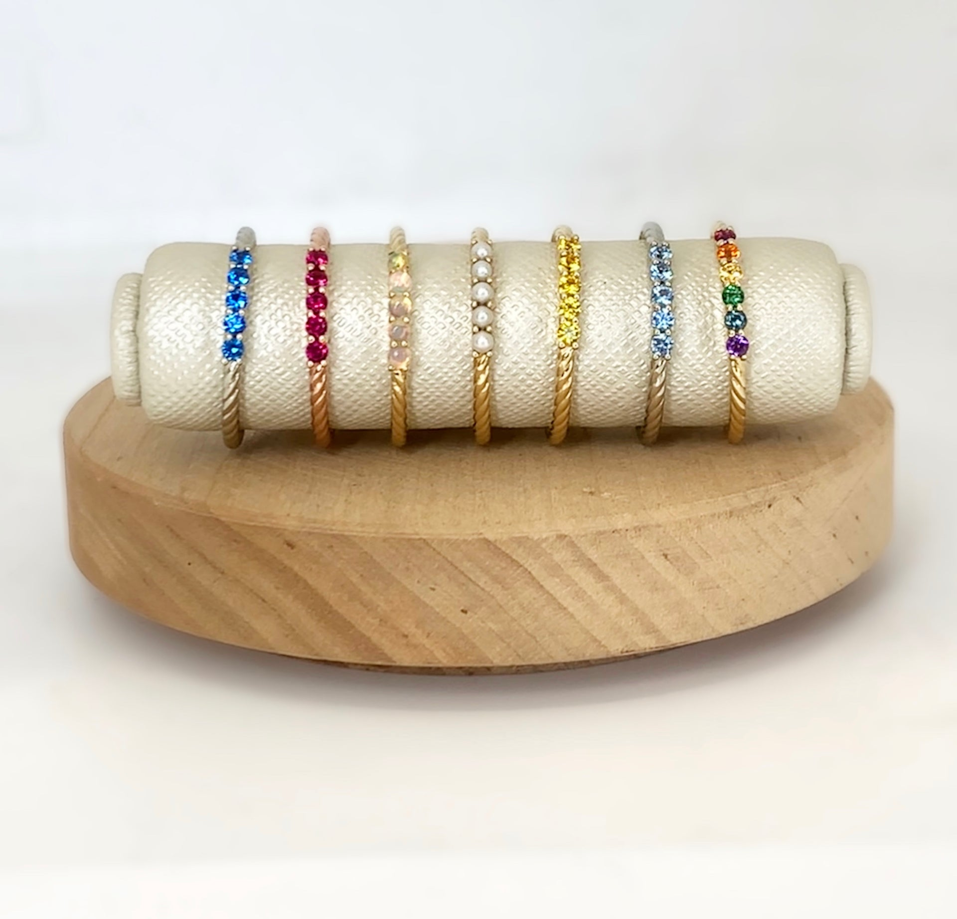 Kendall Rainbow Stackable Gold Ring