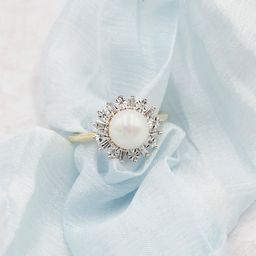 Pearl Diamond Gold Statement Ring