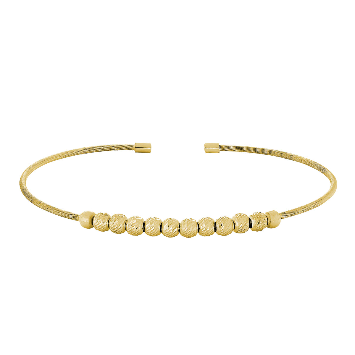 Bella Cavo Italian Cable Bracelet with Diamond Cut Spinning Beads