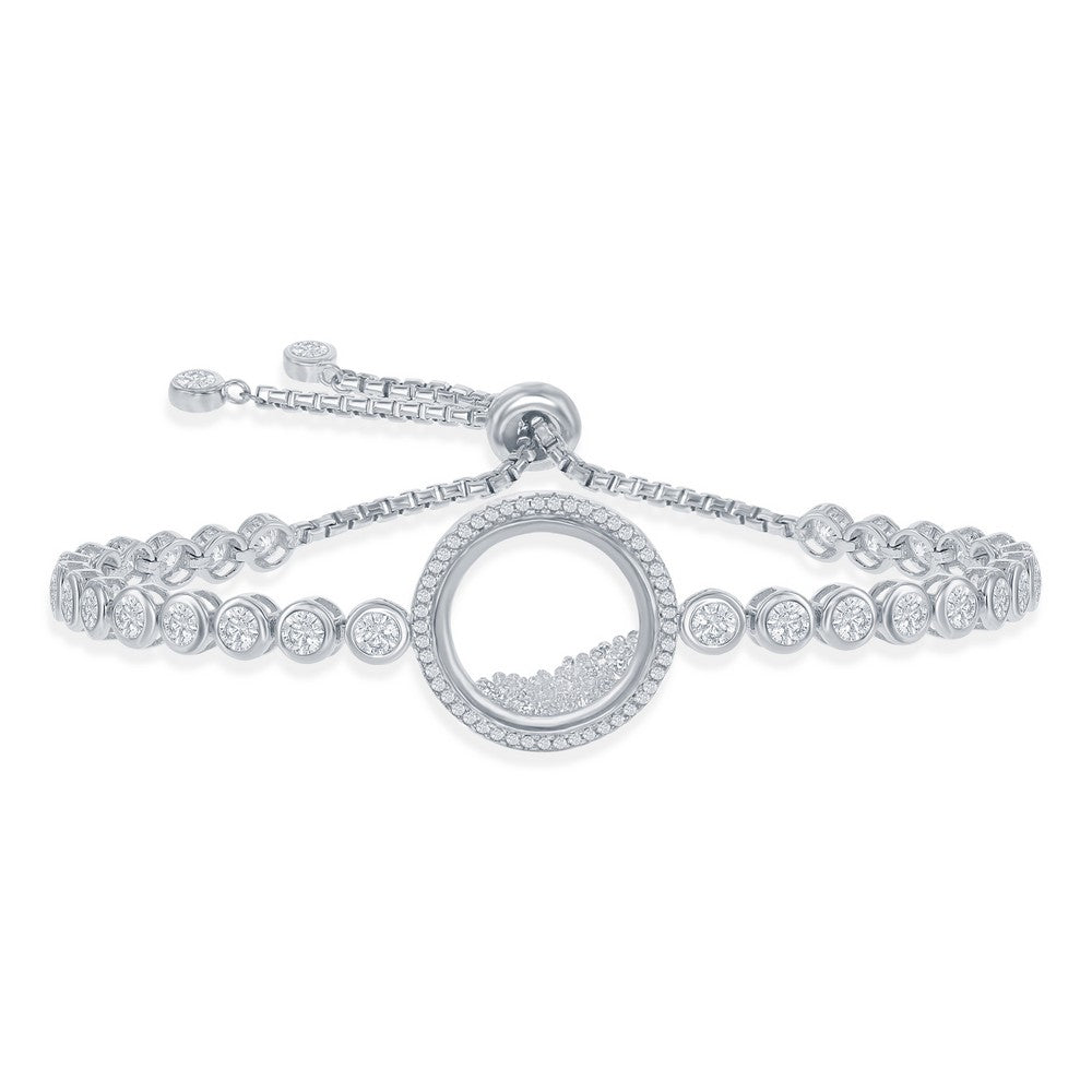 Floating Cubic Zirconia Adjustable Bolo Bracelet in Sterling SIlver