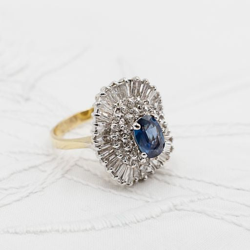 Vintage Sapphire Diamond Statement Ring