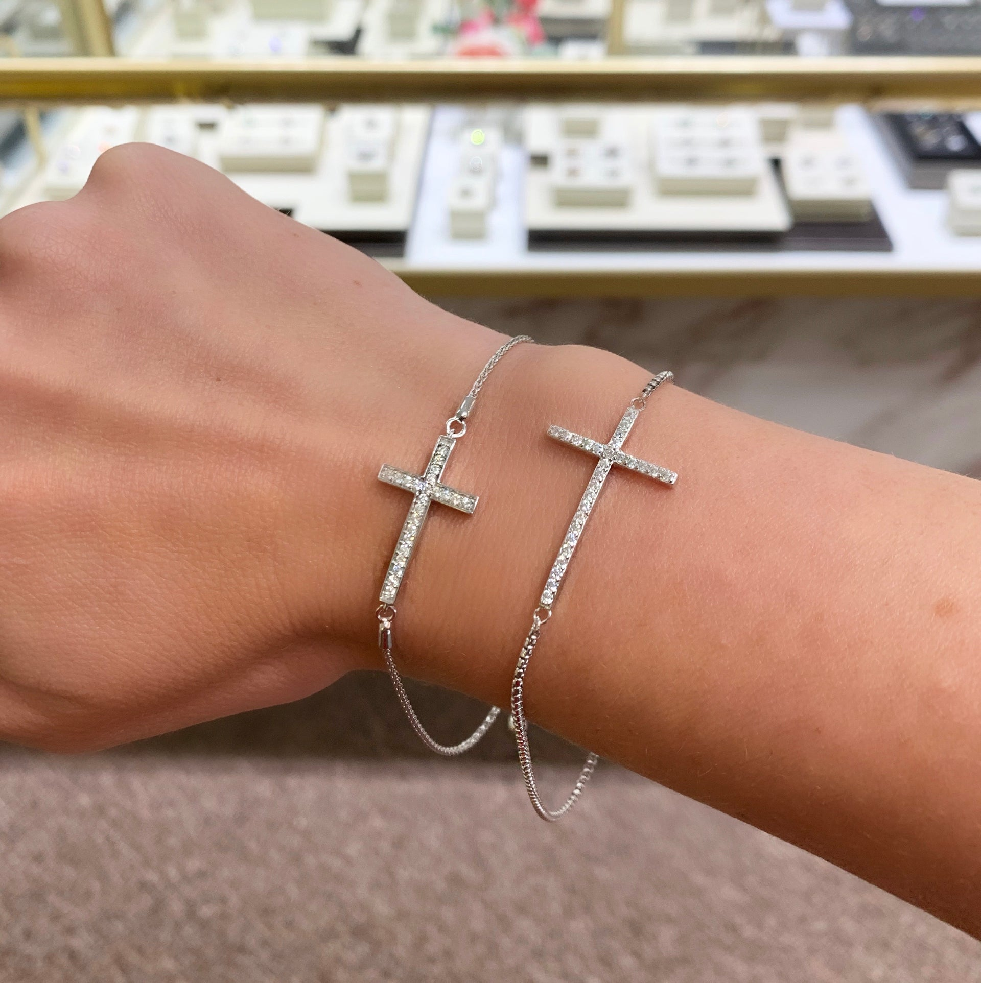 Diamond Cross Bolo Adjustable Bracelet