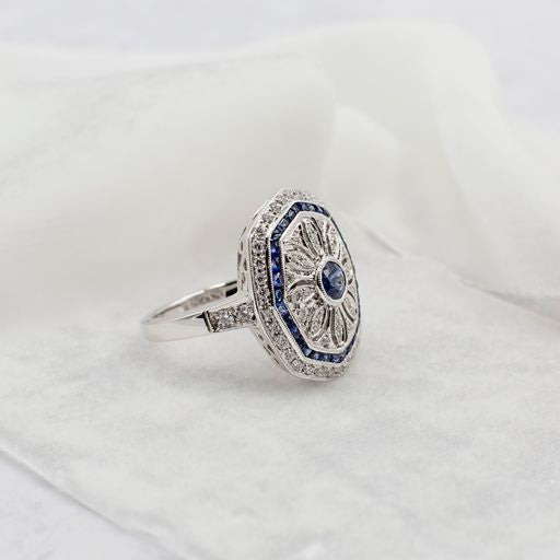 Diamond Sapphire Art Deco Shield Statement Ring