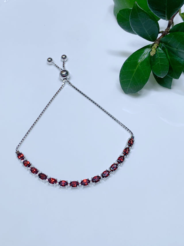 Garnet January Birthstone Adjustable Bolo Bracelet