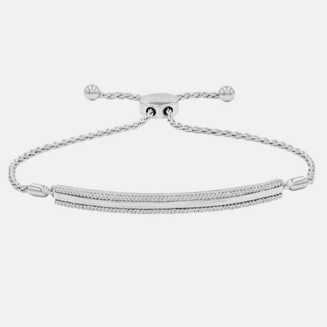 Adjustable Bar-style Sterling Silver Bolo Bracelet with Diamonds