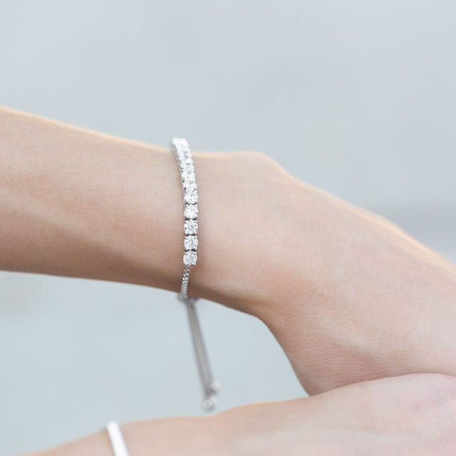 Sterling Silver White Sapphire Adjustable Bolo Bracelet