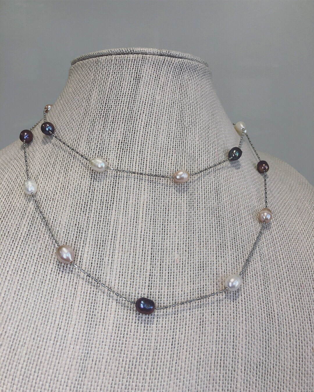 36 Inch Freshwater Pearl Station Necklace
