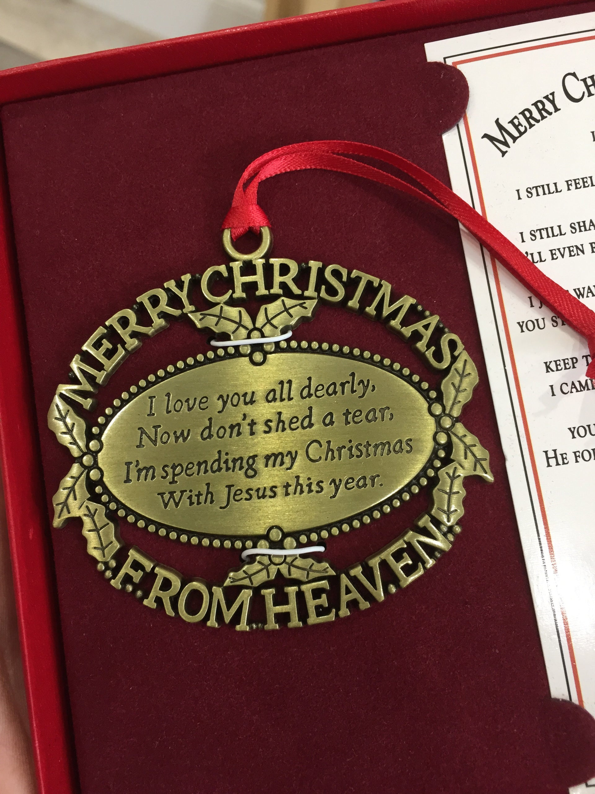 Merry Christmas From Heaven Keepsake Ornament