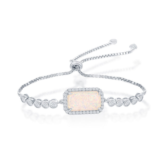 Opal Rectangle Bolo Bracelet