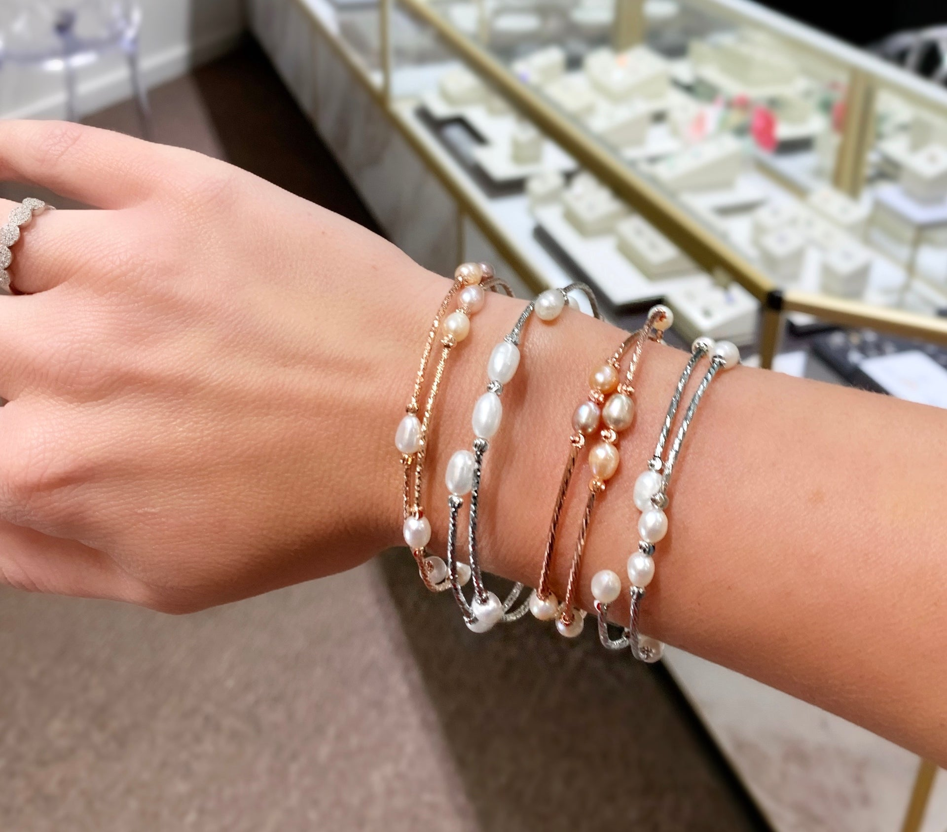 Slide on Pearl Wrap Bracelets