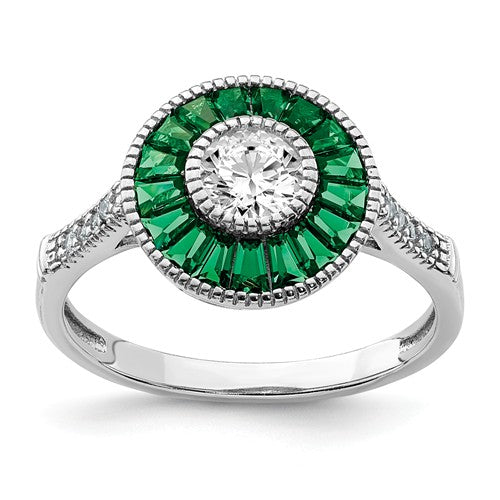 Art Deco Style Ring with Round Halo