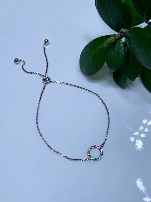 Rainbow Halo Adjustable Bolo Bracelet
