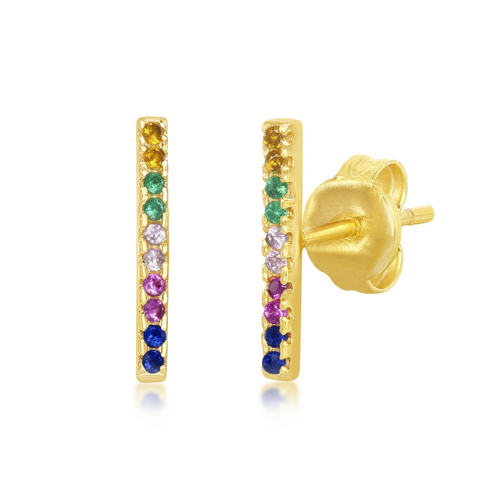 Gold Rainbow Bar Earrings
