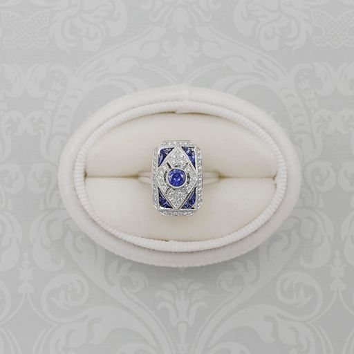 Sapphire and Diamond Art Deco White Gold Statement Ring