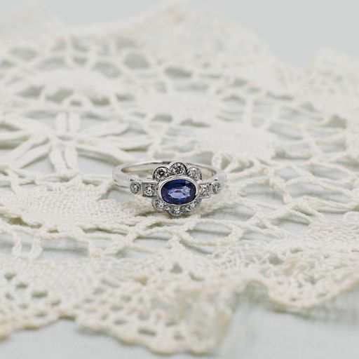 Diamond Sapphire White Gold Art Deco Statement Ring