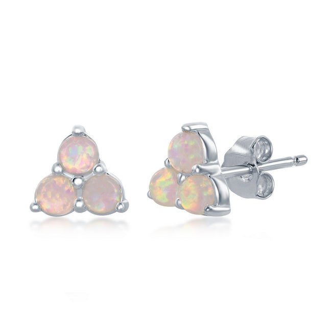 Silver Opal Cluster Stud Earrings