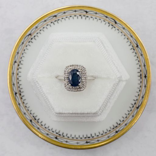Sapphire and Diamond Art Deco Statement Ring