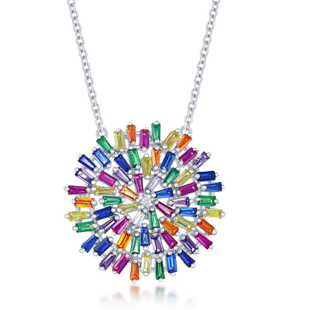 Rainbow Baguette Starburst Necklace
